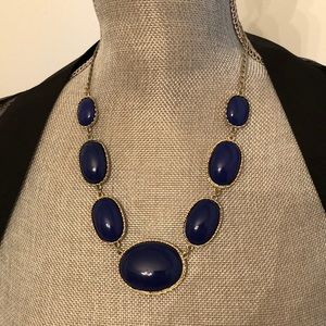 JCrew Blue Silver Statement Necklace